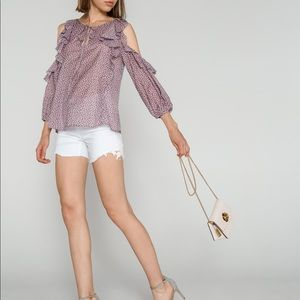 NWT FRENCH CONNECTION Sz XS Cold Shoulder Ruffles